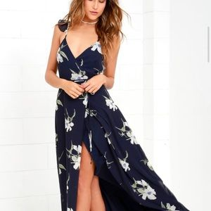 Lulus All Mine Navy Floral High-Low Wrap Dress
